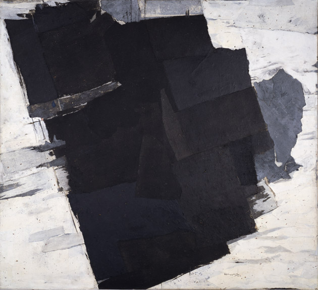 Image of square greyscale abstract painting with dark brushstrokes in the center and lighter brushstrokes surrounding