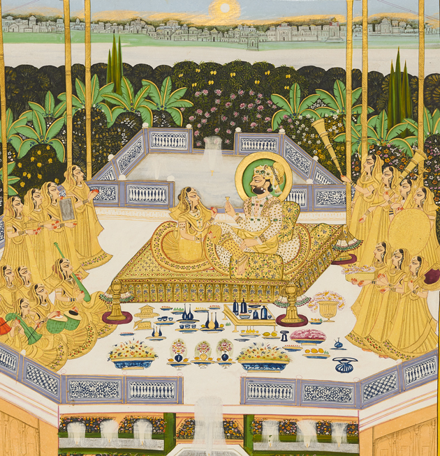 Painting of A Music Concert for Maharaja Man Singh in a Garden Pavilion
