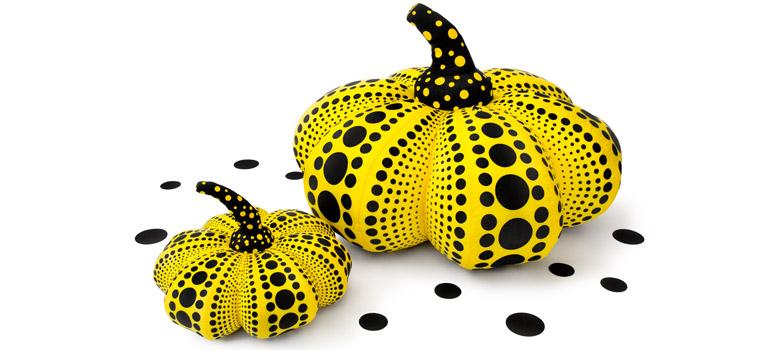 Kusama soft sculpture pumpkins